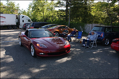 red corvette at finish checkpoint