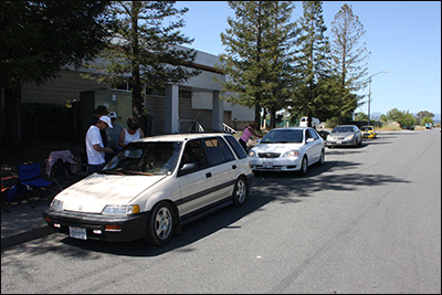 white civi wagon at 1st checkpoint